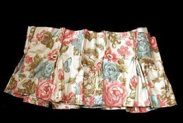 Vtg Custom Pleated Chic Floral Roses Trees Butterflies Lined Valance 90 ... - $28.99