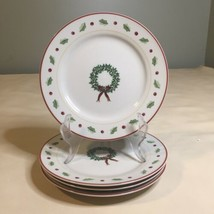 MERRY BRITE CHINA HOLIDAY HOME 4 SALAD PLATES CHRISTMAS WREATH HOLLY  7 ... - $14.84