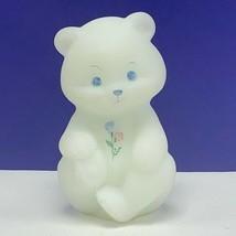Fenton glass teddy bear figurine sculpture milk white signed flowers flo... - $82.08