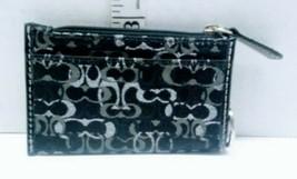 New COACH Mini Skinny ID Wallet Key Chain Signature Canvas Black  - $18.99