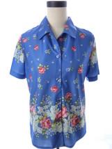 Haband Blue Purple Floral Print Button Down Shirt Blouse Vintage M Top - $25.34