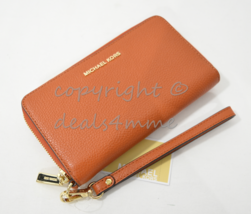 NWT Michael Kors Mercer Large Leather Smartphone Wristlet /Wallet in Orange - $99.00
