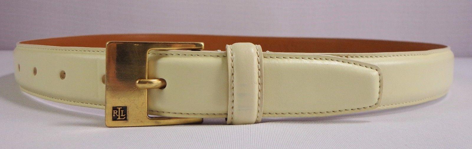 Ralph Lauren Womens Italian Leather Belt Size M Light Cream