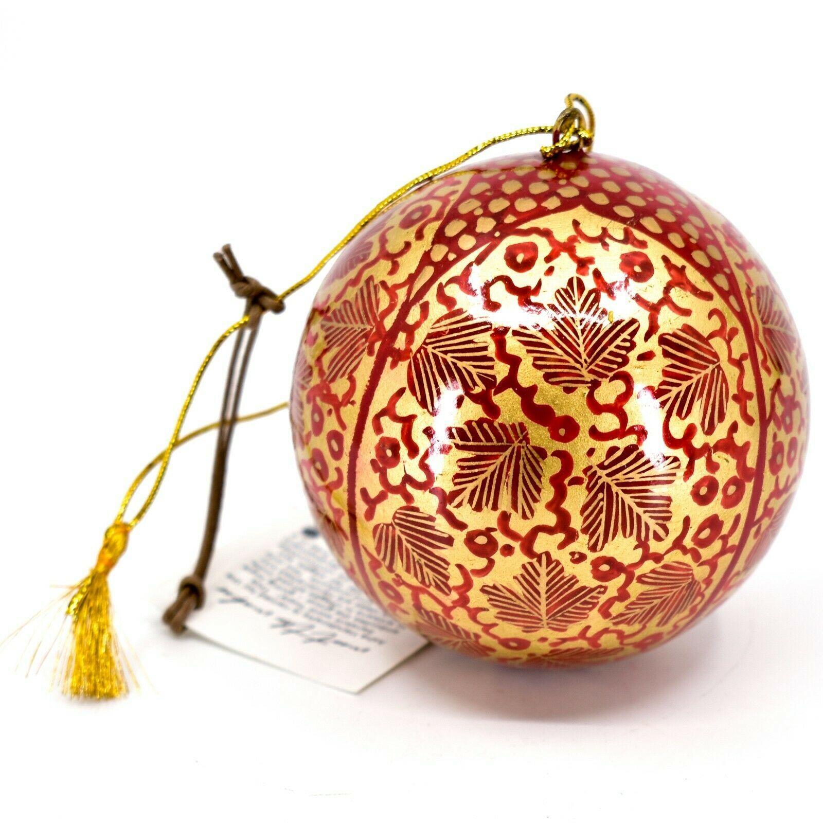 Asha Handicrafts Painted Papier-Mâché Red Gold Chinar Leaves Christmas Ornament