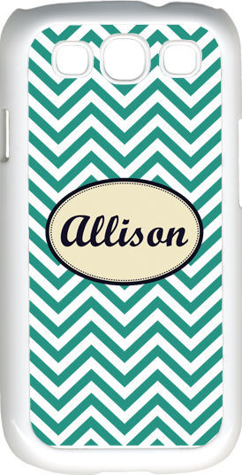 Primary image for Monogrammed Teal Blue Chevron Design Samsung Galaxy S3 Case Cover