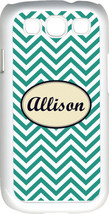 Monogrammed Teal Blue Chevron Design Samsung Galaxy S3 Case Cover - $15.95