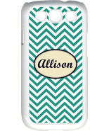 Monogrammed Teal Blue Chevron Design Samsung Galaxy S3 Case Cover - $15.95