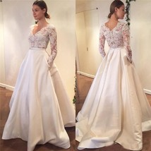 Simple Elegant Long Sleeve V-Neck A-Line Lace Top Satin Wedding Dress - $245.00