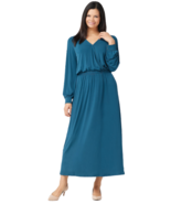 G.I.L.I. 3X Petite Jetsetter Long-Sleeve Knit Maxi Dress Deep Teal P3X - $37.11