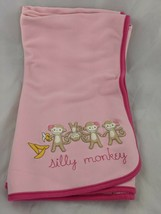 """Gymboree Pink Blanket Silly Monkey About 31"""" x 36"""" - $35.95"""