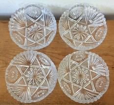 Set 4 Vtg Star Design Clear Pressed Quilted Glass Decorative Bowls Candy... - $23.99