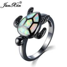 JUNXIN Brand Female White Fire Opal Ring Fashion Turtle Ring Black Gold ... - $15.95