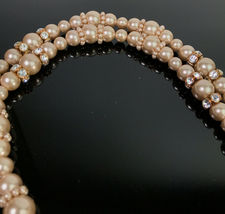Vintage Givenchy Long Faux Pearl & Crystal Necklace  image 3