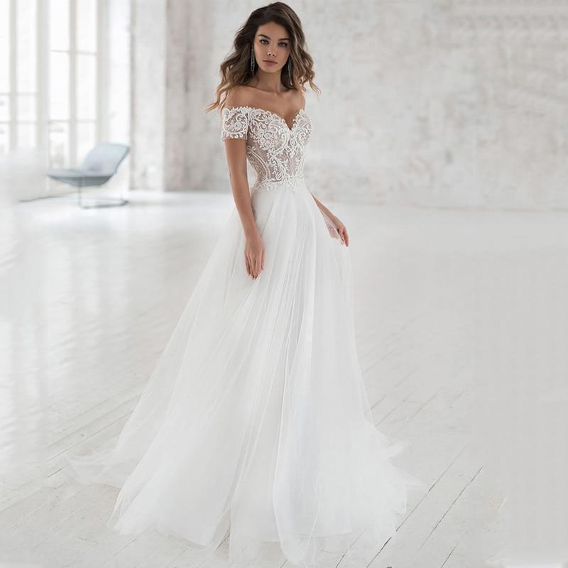 wedding dress off the shoulder appliqued bride dresses a line elegant lace wedding bridal gowns