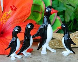 Vintage Penguins Birds Blown Art Glass Figurines Italy Italian Set 4 - $23.95