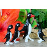 Vintage Penguins Birds Blown Art Glass Figurines Italy Italian Set 4 - €21,84 EUR