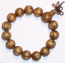 Prayer Beads OM Mani Padme Hum VeraWood Wrist Mala Prayer Bracelet 15mm #41032