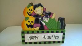"HAPPY HAUNTING Cute Halloween 3DPainted Wood Reclining Vampire 7"" tablet... - $16.99"
