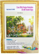Needlepoint Embroidery Kit Perfect Day at A Fantasy Island Mansion 14CT - $30.44