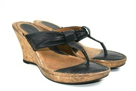 Born Women's Black Leather Cork Wedge Size EU 39, US 8 - $14.50