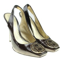 BEBE Womens Brown Patent Leather Monogram Logo Embellished Slingback Hee... - $26.13