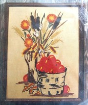 Apples and Cattails NIP 11 by 14 Crewel Kit LeeWards 1976 Stamped Fabric - $19.79