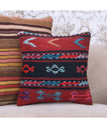 "Gypsy Decor Throw Pillow 16x16"" Turkish Embroidered Kilim Cushion Cover - $20.19"