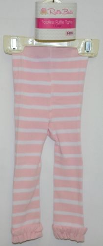 RuffleButts RLKPI06WS00 Pink Stripe Ruffle Footless Tights Size 6 to 12 Months