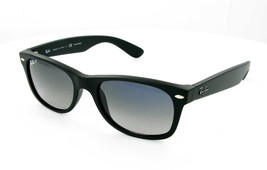 New RAY-BAN New Wayfarer RB 2132 601S78 Matte Blk w/Blue Gray Gradnt Polar 52mm - $151.85