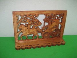 Horse & Buggy Scroll Saw Hand Made Brown Wood Wall Display Shelf - $28.01