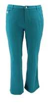 Quacker Factory Pocket Knit Denim Boot Cut Pants Dk Spruce Gre 4 NEW A21... - $35.62