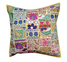 Rastogi Handicrafts Big Size Florr Cushion Cover Multicolor Sari Patchwo... - $20.78