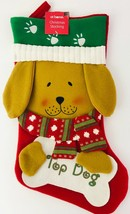 Christmas Stocking Top Dog Holidays Pet Puppy Pup Scarf Paw Prints Holds... - $25.73
