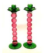 Rare Handcrafted Candlesticks Art Glass Ball Stems Pink Green 12.25 inch... - $166.27