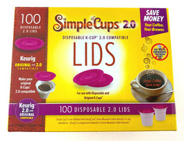 Simple Cups K-Cup Disposable Lids For Keurig 100 Count Reuse Your Coffee... - $18.69