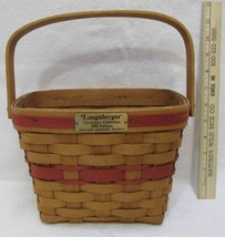 Longaberger Holiday Memory Basket Christmas Collection 1989 Red Weave Ha... - $20.68