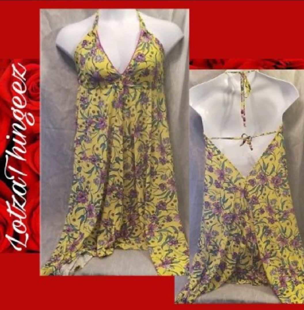 Jessica Simpson M Swimsuit Coverup Dress Scoop Tie Back Yellow Pink Floral