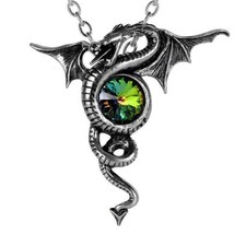 Anguis Aeternus Dragon of Eternity Colorful Crystal Pendant Alchemy Goth... - $34.95