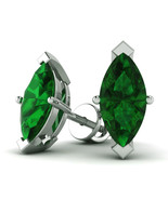 2.00 Cttw Marquise Shape Emerald Solitaire Stud Earrings In 10K White Gold - $126.71