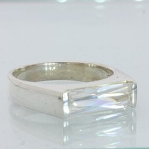 White Sparkling Clear Cubic Zirconia CZ Handmade Silver Gents Ring size 11.75 - £54.67 GBP
