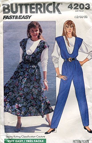 Primary image for Butterick Fast & Easy Pattern 4203 ~ Misses' Jumper, Jumpsuit & Top ~ 12-14-16