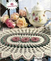 6 Crochet Delightful Pinwheel Pineapple Roses Lacy Doily Patterns - $12.99