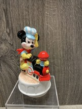 Vintage Mickey Mouse Ceramic Music Box Train Conductor Schmid Rotating Disney - $24.99