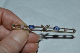 Antique Victorian Silver Bar Pin/Brooch-Rose Quartz & Sapphire-Moon/Leaf... - $69.00