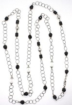 SILVER 925 NECKLACE, ONYX BLACK, LENGTH 160 CM, CHAIN ROLO', CIRCLES image 2