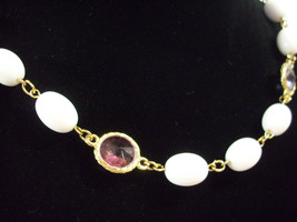 RIVOLI Cut PASTEL Rhinestones WHITE Oval Beads Necklace Strand Pink Blue... - $18.80