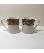 "2 Coffee Mugs Corelle Woodland Leaves Coordinates Stoneware 3.75"" tall - $14.50"