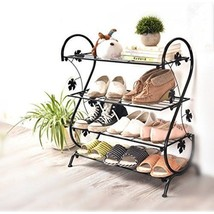 Shoe Rack Metal Storage Vintage Simple Shoe Stand Indoor Outdoor Home Bl... - $76.33 CAD
