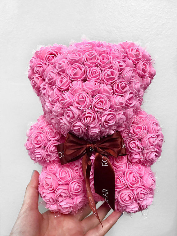 Fun-Size Rose Bear, Mini Rose Bear, Baby Rose Bear, Faux Roses Teddy Bear Pink