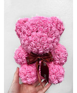 Fun-Size Rose Bear, Mini Rose Bear, Baby Rose Bear, Faux Roses Teddy Bea... - $88.06